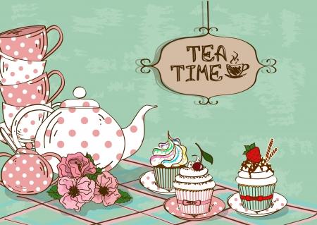 お茶セットと派手なカップケーキの静物とヴィンテージのイラスト
