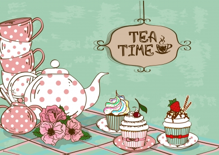 Vintage illustration with still life of tea set and fancy cupcakes Çizim