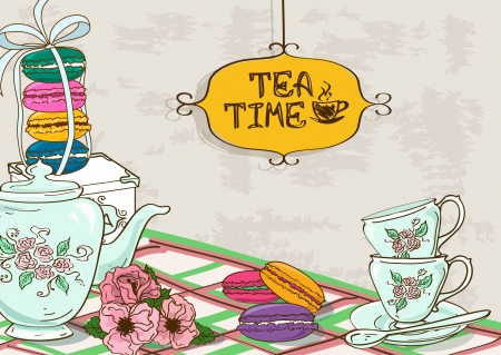 kettles: Vintage illustration with still life of tea set and French macaroons Illustration