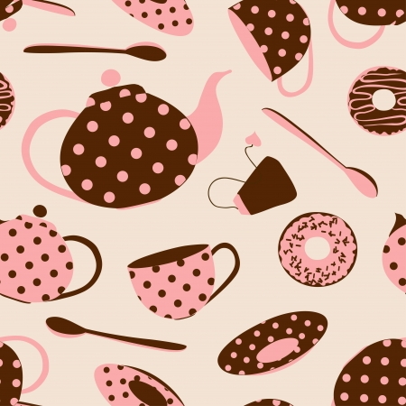 Fancy seamless pattern of brown pink polka dots tea set and donuts Ilustrace