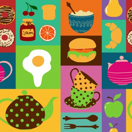 Colorful seamless pattern of tea set and breakfast food Vector