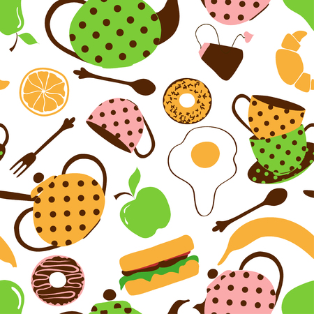 Colorful seamless pattern of tea set and breakfast food