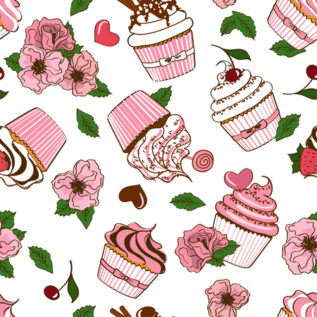 Abstract seamless pattern of cartoon cupcakes and flowers Vector