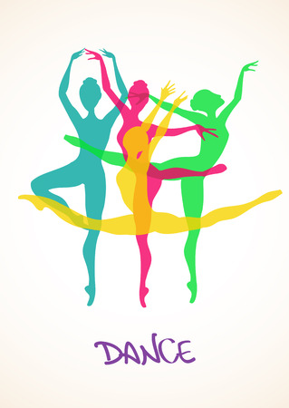 woman jump: Illustration with colorful silhouettes of ballet dancers