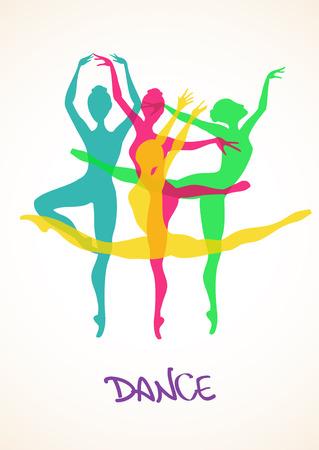 ballet ni�as: Ilustraci�n con siluetas de colores de los bailarines de ballet