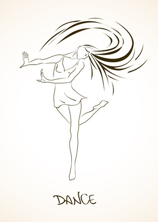 modern dancers: Illustration with isolated outline beautiful dancing girl Illustration