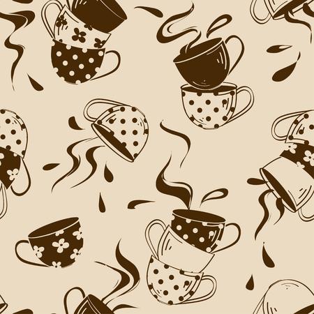 Vintage seamless pattern of cartoon colorful teacups and splash Vector
