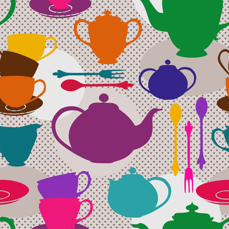Seamless pattern of colorful tea set on a gray polka dot background Vector