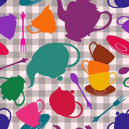 checkered wallpaper: Seamless pattern of colorful tea set on a gray white checkered pattern background