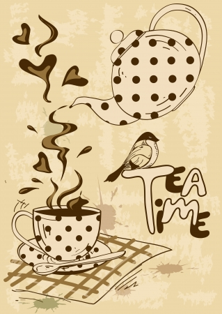 animal time: Vintage tea party invitation with teapot, teacup, saucer, spoon and bird