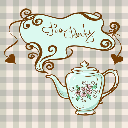 Tea party invitation with china teapot on a gray white checkered background