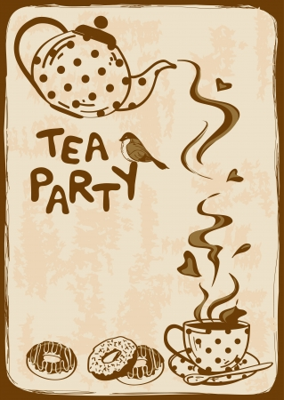 Vintage tea party invitation with teapot, teacup, saucer, spoon and bird