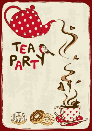 in english: Vintage tea party invitation with teapot, teacup, saucer, spoon and bird