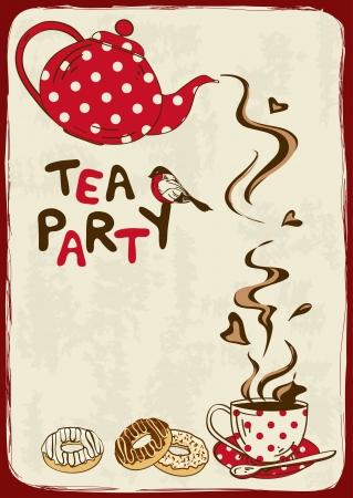 caf�: Vintage tea party invito con teiera, tazza da t�, piattino, cucchiaio e uccelli Vettoriali