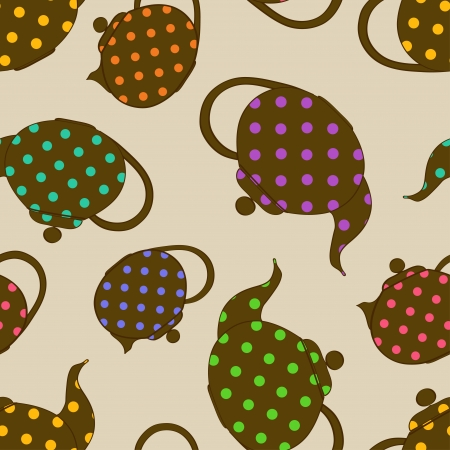 Seamless pattern of teapots with colorful polka dot pattern Vector