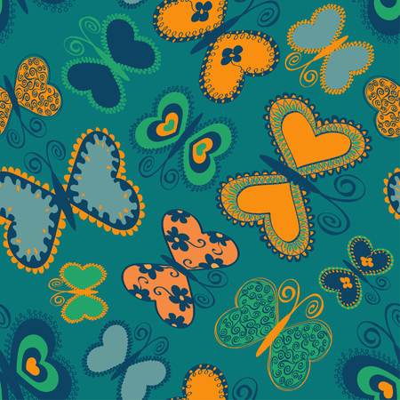 Summer seamless pattern of colorful doodle butterflies Vector