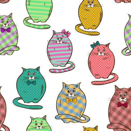 Seamless pattern of funny fat colorful patterned cats Иллюстрация