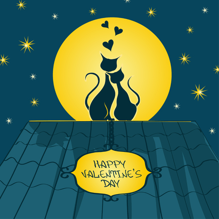 Illustration with pair of lovers cats sitting on a roof and admire the moon at night