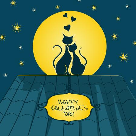 enamorados caricatura: Ilustración con el par de amantes de gatos sentados en una azotea y contemplar la luna en la noche Vectores