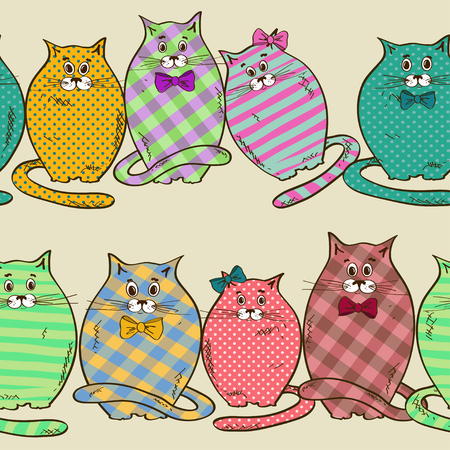 animal lover: Seamless pattern of funny fat colorful patterned cats Illustration