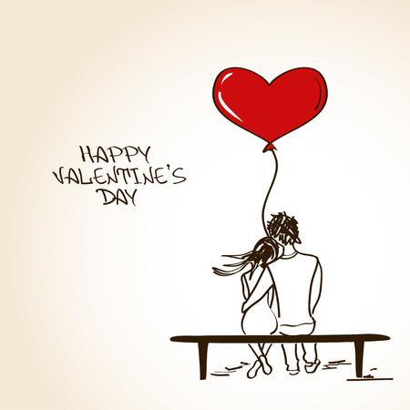 Amour carte de voeux avec couple embrassant assis sur un banc et tenant une montgolfière coeur