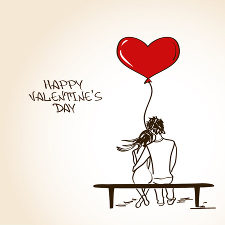 Love greeting card with embracing couple sitting on a bench and holding heart air balloon Vector
