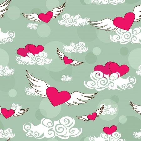 Cartoon seamless pattern of flying heats at the sky Illustration