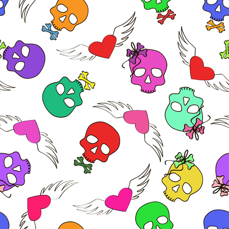 Colorful seamless pattern of funny cartoon skulls and winged hearts Vector