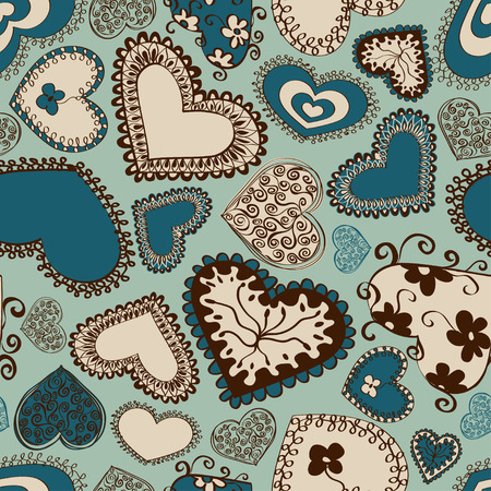 Seamless pattern of fairy doodle blue hearts Vector