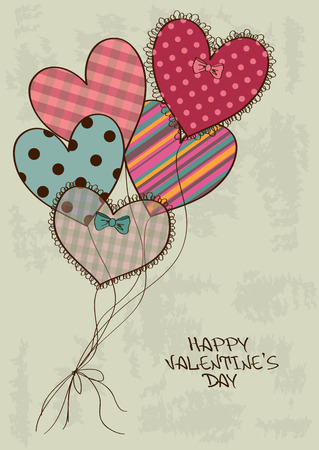 Valentines greeting card with scrapbooking heart air balloons Vector
