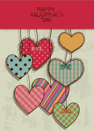 Vintage Valentines greeting card with colorful scrapbook hearts Vector