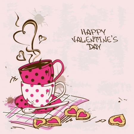 Vintage Valentine's wenskaart met paar theekopjes en koekjes