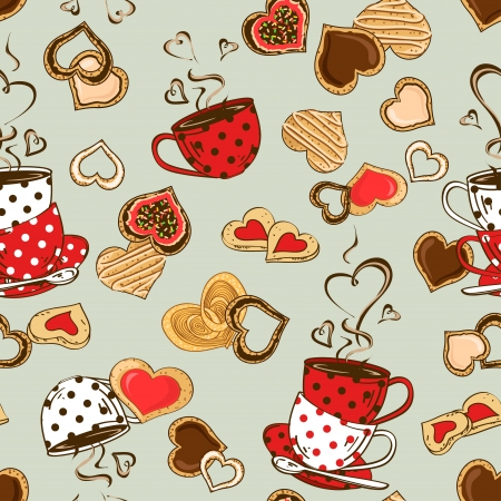 Love seamless pattern of teacups and heart cookies