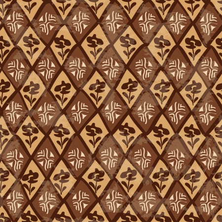 Vintage brown ethnic tribal geometric seamless pattern Vector