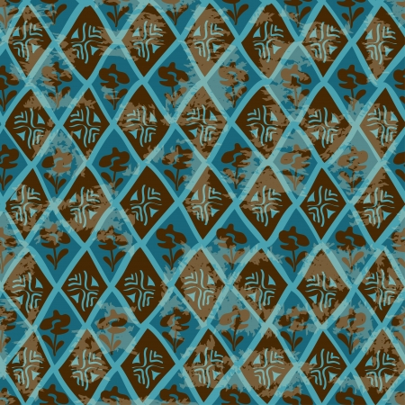 Vintage blue brown ethnic tribal geometric seamless pattern Vector