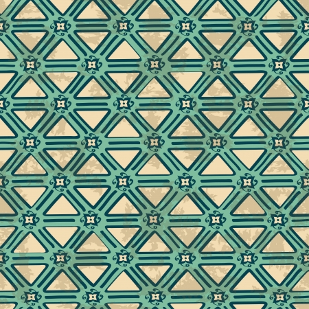 Arabic vintage blue white ethnic geometric seamless pattern Vector