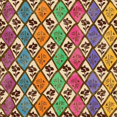 Vintage colorful ethnic tribal geometric seamless pattern Vector