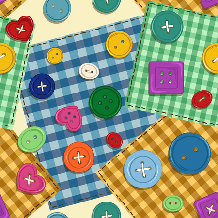 Colorful cartoon seamless pattern of fancy patchwork and buttons Vector