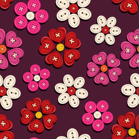 Seamless pattern of red white flowers hand made from buttons Vector