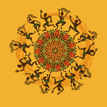 Ilustración de bailarines africanos tribales