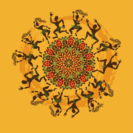 africano: Ilustración de bailarines africanos tribales