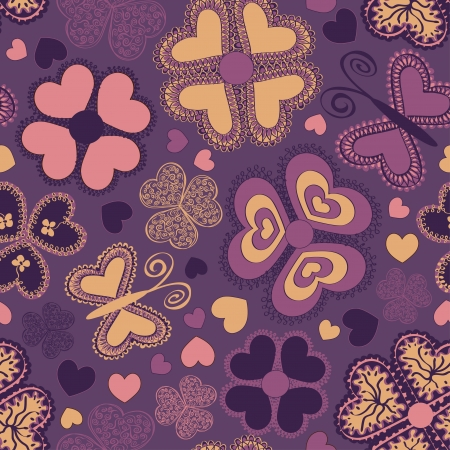 Summer seamless pattern of colorful doodle flowers and butterflies Vector