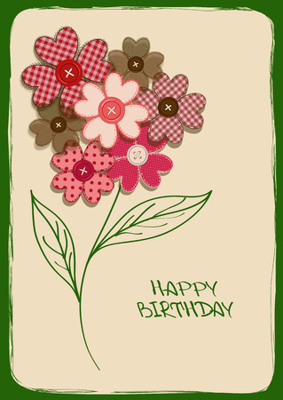Holiday card or invitation with fancy bouquet of flower patchworks and buttons Vector