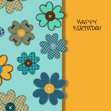 Holiday card or invitation with fancy flower patchworks and buttons Vector