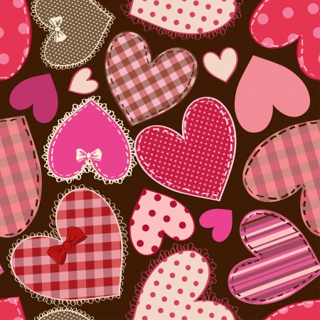 Seamless pattern of fancy heart patchworks  Vector