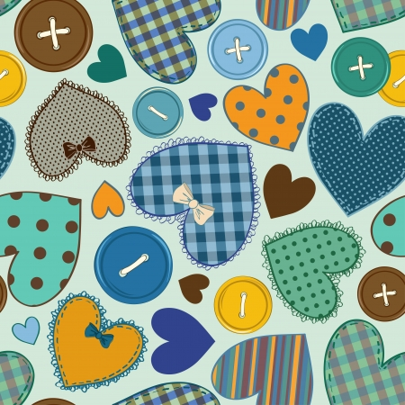 Seamless pattern of fancy colorful heart patchworks and buttons