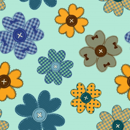 Seamless pattern of fancy colorful flower patchworks and buttons Vector