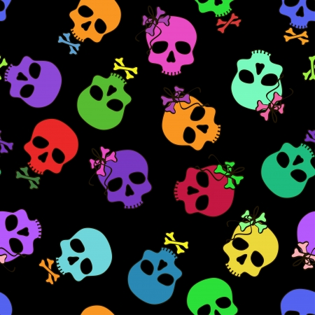 Seamless pattern of funny cartoon colorful skulls on a black background Illustration
