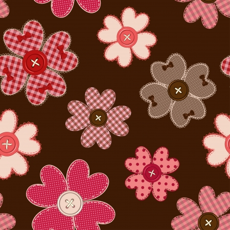 Seamless pattern of fancy flower patchworks and buttons Vector