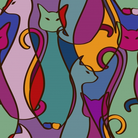 Seamless pattern of tribal geometric colorful African cats Ilustração